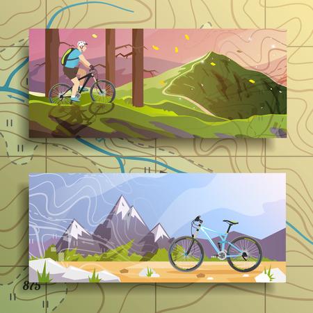 montagna: Bella serie di striscioni colorati piatti vettoriale sul tema: mountain bike, ciclismo.