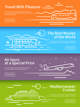 train ticket: Line travel banners set. Vector illustrations. Quality design illustrations, elements and concept.