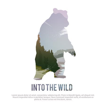 oso: Vector cartel de temas: animales salvajes de Canadá, la supervivencia en el medio natural, la caza, camping, viaje. Vectores