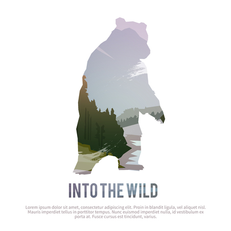 wild nature: Vector poster on themes: wild animals of Canada, survival in the wild, hunting, camping, trip.