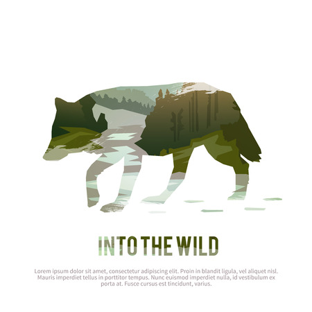 landscape: Vector poster on themes: wild animals of Canada, survival in the wild, hunting, camping, trip.