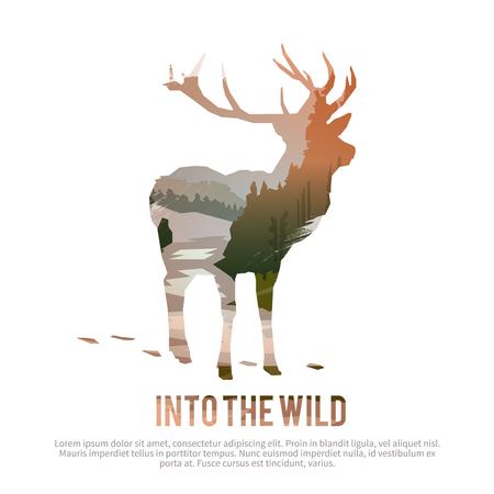 Vector cartel de temas: animales salvajes de Canadá, la supervivencia en el medio natural, la caza, camping, viaje. Foto de archivo - 49815902