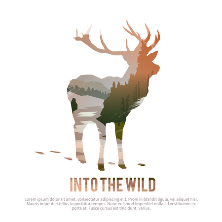 deer: Vector poster on themes: wild animals of Canada, survival in the wild, hunting, camping, trip.