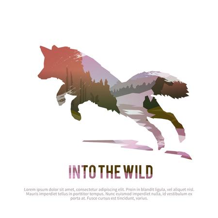 Affiche de Vector sur les thèmes: animaux sauvages du Canada, la survie à l'état sauvage, la chasse, le camping, voyage. Banque d'images - 49815901