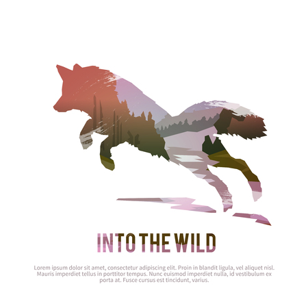 zorro: Vector cartel de temas: animales salvajes de Canadá, la supervivencia en el medio natural, la caza, camping, viaje. Vectores