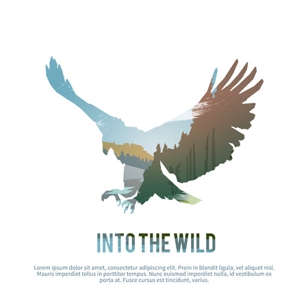 wild: Vector poster on themes: wild animals of Canada, survival in the wild, hunting, camping, trip.