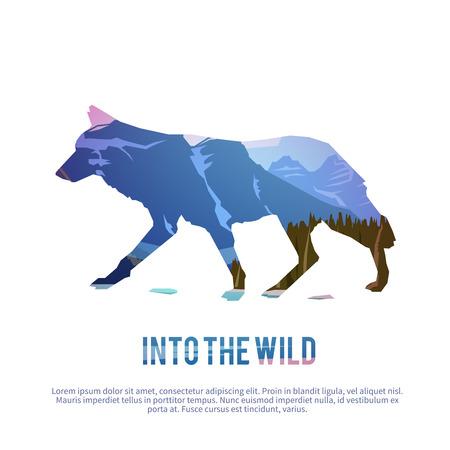 trofeo: Vector cartel de temas: animales salvajes de Canadá, la supervivencia en el medio natural, la caza, camping, viaje. Vectores