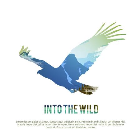 テーマのベクトル ポスター: カナダの野生では、サバイバル狩り、野生動物、キャンプ旅行します。