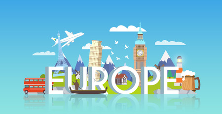 Vector banner on themes: trip to Europe, sights Europe, vacations in Europe, summer adventure. Modern flat style. Çizim