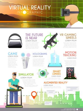 仮想現実、ホログラム、ビデオゲームをテーマにベクター インフォ グラフィックを広告、拡張現実感。