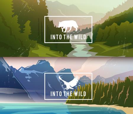 paisagem: Bandeiras da paisagem sobre os temas: natureza do Canadá, sobrevivência na selva, caça. ilustração do vetor.
