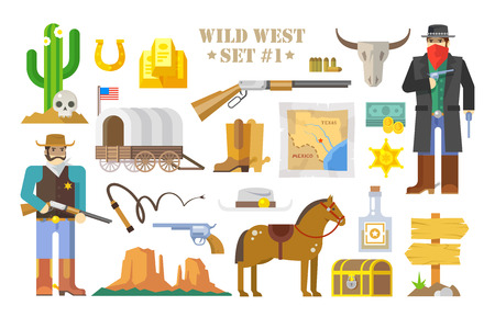 Ensemble d'éléments vectoriels sur le thème de l'Ouest sauvage. Cowboys. La vie dans l'Ouest sauvage. Le développement de l'Amérique. Style moderne plat. Partie un. Banque d'images - 49815940