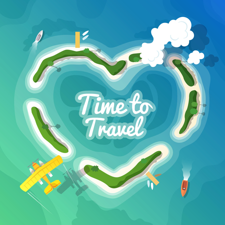 pierce: Colourful travel vector flat illustration for your business, web sites etc. Quality design illustration, elements and concept. Time to Travel. Vacation in Paradise. Top view. Illustration