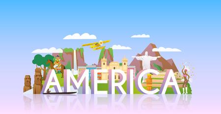 テーマのベクトル バナー: 南アメリカ、夏の冒険の休暇は南アメリカ、南アメリカ、観光スポットへの旅行。モダンなフラット スタイル。