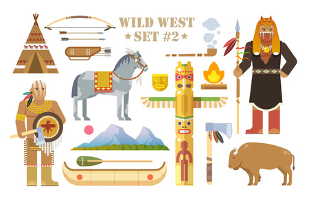 horse pipes: Set of vector elements on the theme of wild West. North America indians. Life of native Americans. The development of America. Modern flat style. Part two.