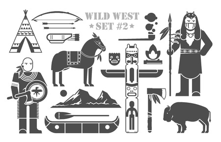 Traditional Indian Symbols Set With Cartoon Characters Of American