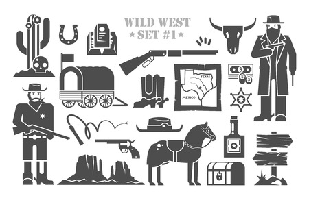 calavera caricatura: Conjunto de elementos del vector en el tema del salvaje Oeste. Cowboys. La vida en el salvaje Oeste. El desarrollo de América. Primera parte.