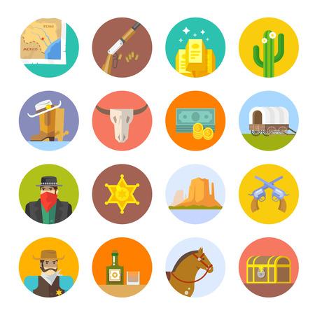 calavera caricatura: Conjunto de iconos planos en el tema de la vida en el viejo Oeste. Cowboys. La vida en el salvaje Oeste. El desarrollo de América.