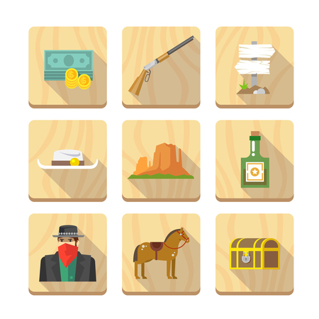 old west: Set of flat icons on the theme of life in the old West. Cowboys. Life in the wild West. The Development Of America. Part two. Illustration