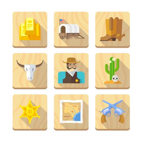 vaquero: Conjunto de iconos planos en el tema de la vida en el viejo Oeste. Cowboys. La vida en el salvaje Oeste. El desarrollo de América. Primera parte.