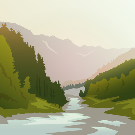 forest landscape: Landscape on themes: nature of Canada, survival in the wild, camping. Vector illustration.