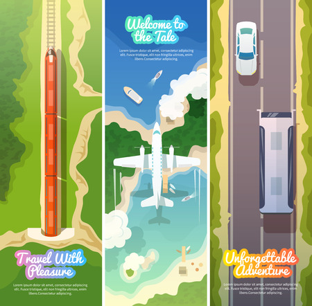 sun road: Colorful vector modern flat banners set. Quality design illustrations, elements and concept. Flying airplane. Train. Bus. Vertical banners.