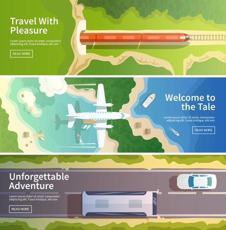 カラフルなベクトルのモダンなフラット バナーを設定します。品質デザインのイラスト、要素および概念。飛行機を飛んでいます。鉄道。バス。水