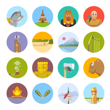 Set of flat icons on the theme of the life of native Americans. Wild West. The development of America.