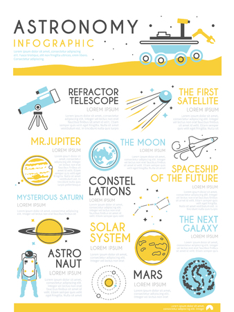 spaceflight: Stylish vector infographics on the theme of astronomy, spaceflight, solar system, planets, space. Illustration