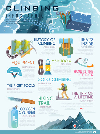 ice climbing: Stylish vector infographics on the theme of mountaineering, mountain, climbing history, equipment, preparation for the ascent. Modern flat design.