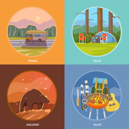 camping tent: Beautiful set of flat vector banners on the theme of camping, tour, hike in the woods, the outdoors, adventure, wildlife, trekking, relaxing with friends. Modern flat design.