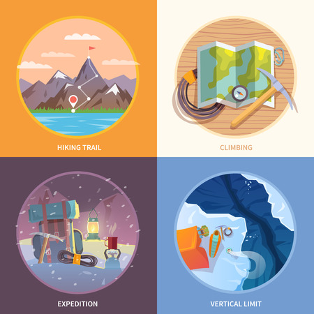 climbing mountain: Beautiful set of flat vector banners on the theme of climbing, camping, trekking, expedition in wild corners of the earth, mountain man. Modern flat design.