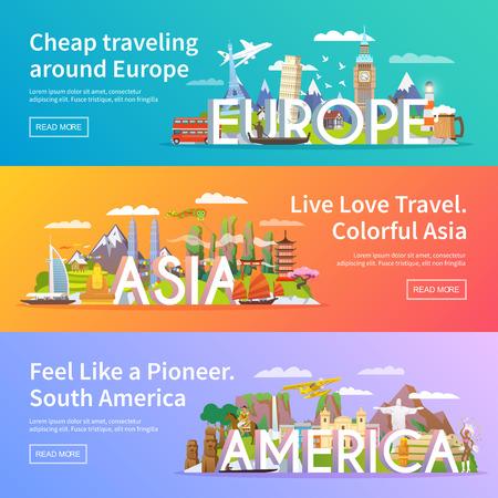 travel: Piękny zestaw płaskich banerów wektorowych na temat Azji, Europy, Ameryki, letnie podróże, przygoda, wakacje. Nowoczesna płaska.