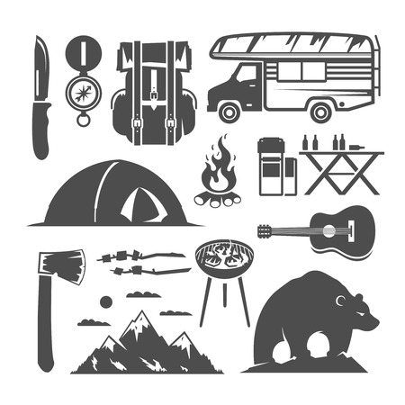 survival knife: Set of vector black and white icons on the theme of camping, tour, hike in the woods, the outdoors, adventure, wildlife, trekking, relaxing with friends. Illustration