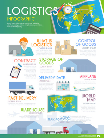 global logistics: Stylish vector infographics on the theme of logistics, freight, trucking, warehouses, storage of goods, insurance. Modern flat design. Illustration