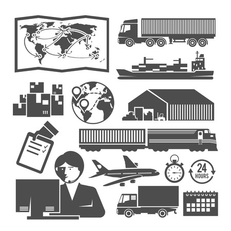Set of vector black and white icons on the theme of logistics, freight, trucking, warehouses, storage of goods, insurance. Ilustração