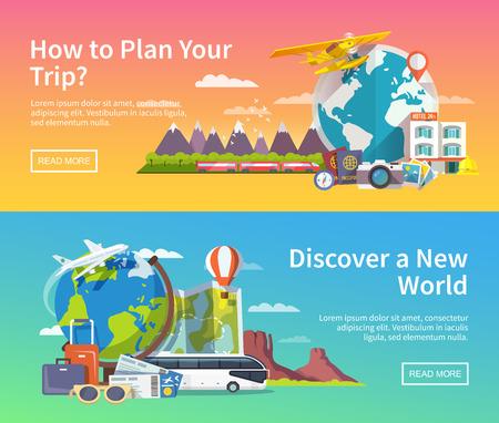 여행: 테마 여름 여행, 모험, 휴가 평면 벡터 배너의 아름다운 세트. 현대 평면 디자인.