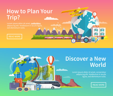 viaggi: Bella serie di striscioni vettore piatte sul viaggio estivo tema, avventura, vacanza. design piatto moderno.