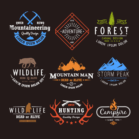 escalando: Conjunto de etiquetas premium de vectores sobre los temas de la vida silvestre, la naturaleza, la caza, los viajes, la naturaleza salvaje, la escalada, la vida en las montañas, la supervivencia, retro, vintage, diseño casual