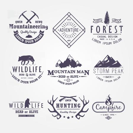 logo: Bộ nhãn vector cao cấp trên các chủ đề về động vật hoang dã, thiên nhiên, săn bắn, du lịch, thiên nhiên hoang dã, leo núi, cuộc sống ở vùng núi, sống còn, Retro, cổ điển, thiết kế giản dị