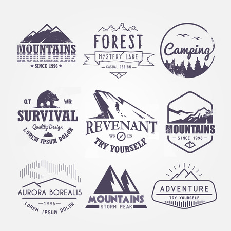camp: Set of premium vector labels on the themes of wildlife, nature, hunting, travel, wild nature, climbing, life in the mountains, survival, Retro, vintage, casual design Illustration