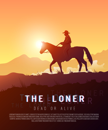 orange sunset: Stylish vector poster wild West , Colonization of America, adventure, horse riding, seclusion and loneliness, cowboys. Modern flat design. Illustration