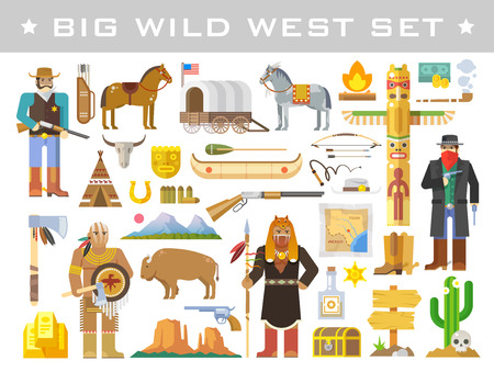 indian weapons: Big set of vector elements on the theme of wild West. Cowboys. Native Americans. Life in the wild West. The development of America. Modern flat style.