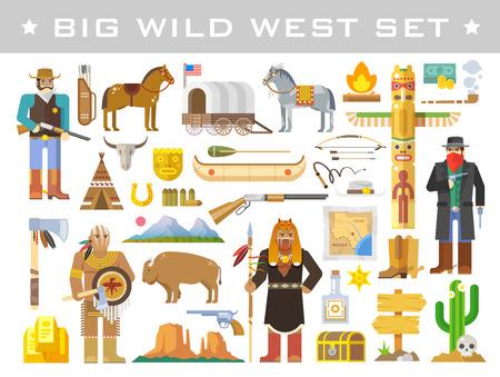 vaquero: Gran conjunto de elementos del vector en el tema del salvaje Oeste. Cowboys. Nativos americanos. La vida en el salvaje Oeste. El desarrollo de América. Estilo plano Moderno.