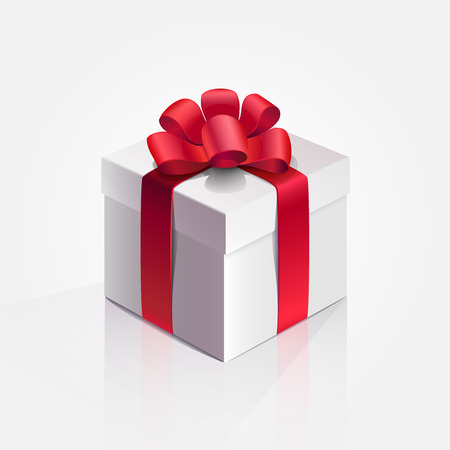 Vector illustration. Box Present Holiday Red ribbon.