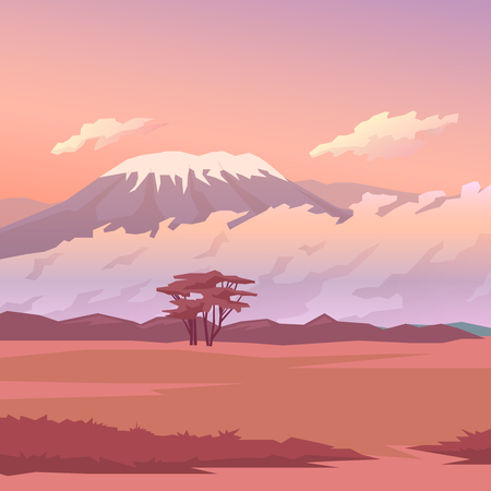 safari: Vector illustration on themes: nature of Africa, safari, morning in Savannah, hunting, camping, trip. African landscape Modern flat design.