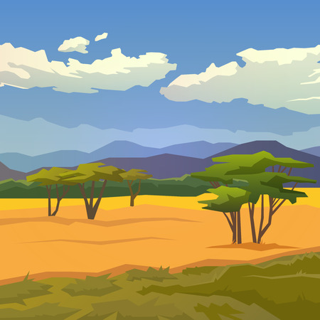 Vector illustration on themes: nature of Africa, safari, noon in Savannah, hunting, camping, trip. African landscape Modern flat design. Vettoriali