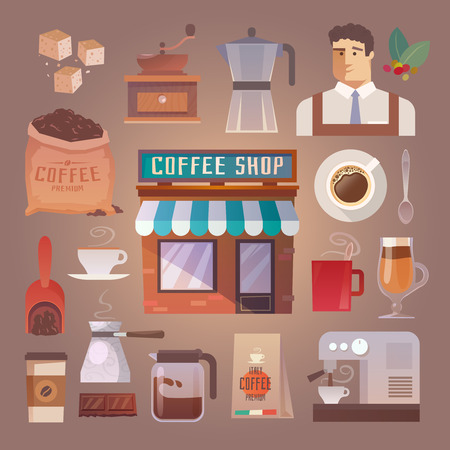 coffee machine: Beautiful set of vector flat icons for your projects. Coffee, cafes, coffee shops, types of beverages. Italian coffee. Barista. The consumption of coffee. Breakfast. part 1 Illustration