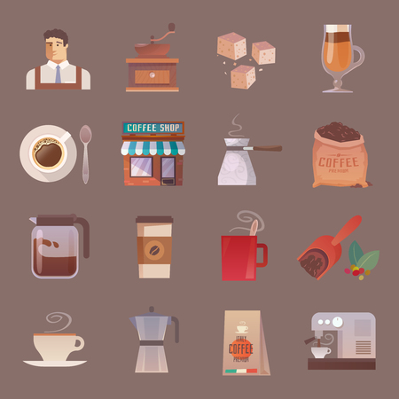 barista: Beautiful set of vector flat icons for your projects. Coffee, cafes, coffee shops, types of beverages. Italian coffee. Barista. The consumption of coffee. Breakfast. part 2 Illustration