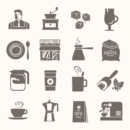 barista: Beautiful set of vector black icons for your projects. Coffee, cafes, coffee shops, drinks, coffee, Barista. The consumption of coffee. Breakfast. Illustration